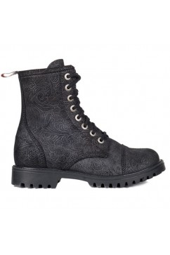 8 eye boots leather brocade (black) Aderlass