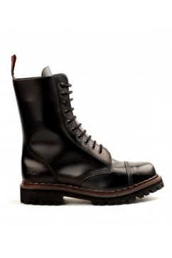 10 eye steel boots leather (black) Aderlass