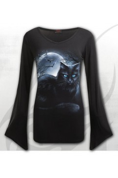 F012F436 MYSTICAL MOONLIGHT - V Neck Goth Sleeve Top
