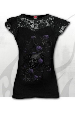 ENTWINED SKULL - Lace Layered Cap Sleeve Top Spiral
