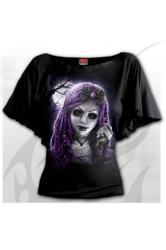 GOTH DOLL - Boat Neck Bat Sleeve Top Spiral