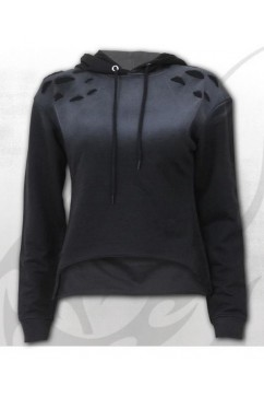 P004F760 URBAN FASHION - Distressed Spray On Ladies Hoody