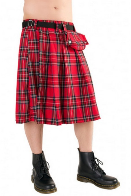 Short Kilt Tartan (red) Black Pistol