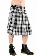 Short Kilt Tartan (Black and white) Black Pistol