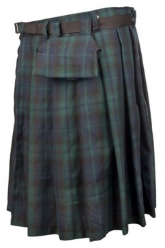 Short Kilt Tartan (Green-Blue) Black Pistol